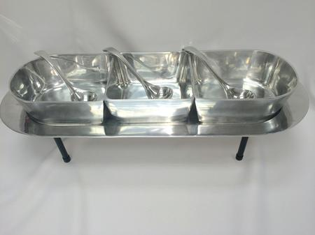 Aluminum Oblong Tray W/Bowls Kit