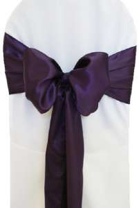 Eggplant Satin Chair Sash