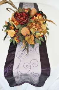 Eggplant Embroidered Organza Runner 12″ x 108″