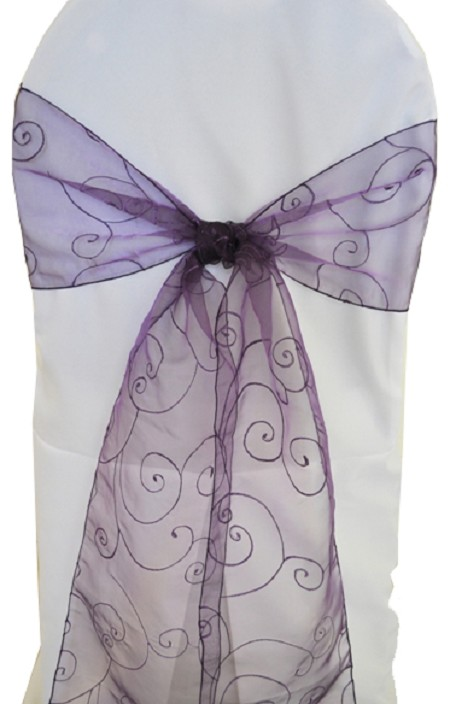 Eggplant Embroidered Organza Chair Sash