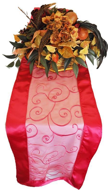 Fuchsia Embroidered Organza Runner 12″ x 108″