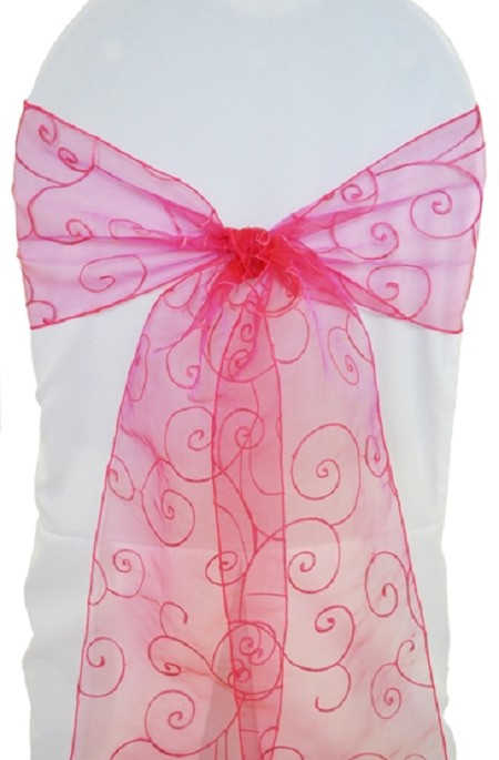 Fuchsia Embroidered Organza Chair Sash