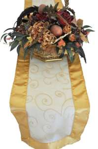 Gold Embroidered Organza Runner 12″ x 108″