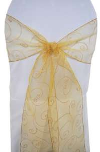 Gold Embroidered Organza Chair Sash