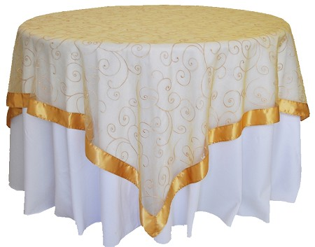 Gold 85″ x 85″ Embroidered Organza Overlay