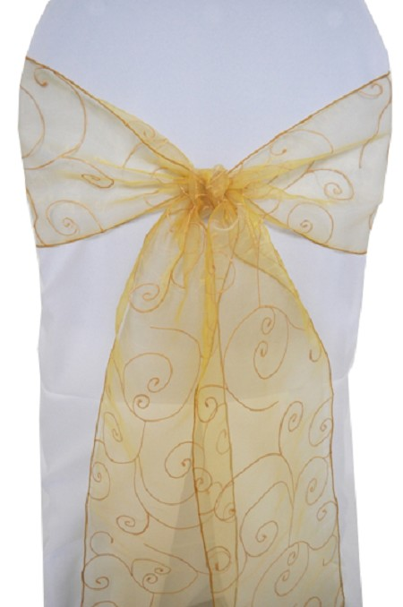Gold Embroidered Organza Chair Sash