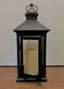 Metal/Glass Lantern, with Candle