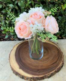 A Blush Silk Rose Arrangement 3.5″ X 10″