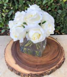 A White Silk Rose Arrangement 5″ X 5″