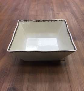 Bowl, White Antiqued – 12″ square