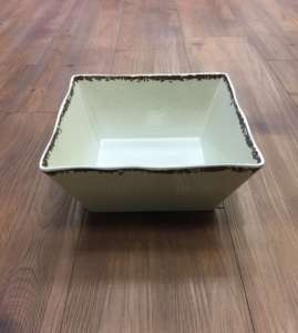 Bowl, White Antiqued – 9″ square