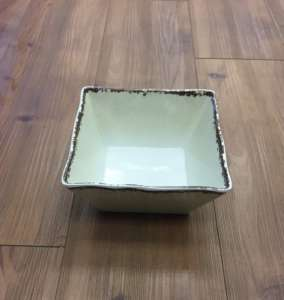 Bowl, White Antiqued – 7″ square