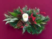 Pine Centerpiece w/ candle