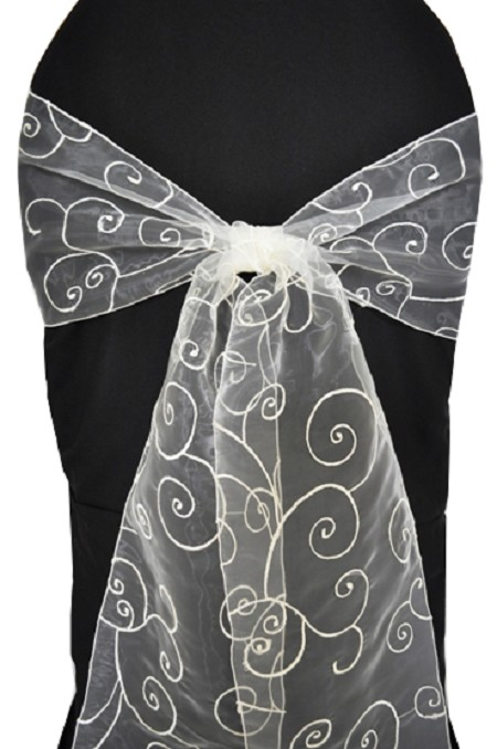 Ivory Embroidered Organza Chair Sash