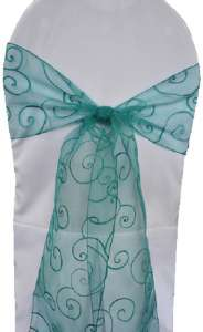 Jade Embroidered Organza Chair Sash