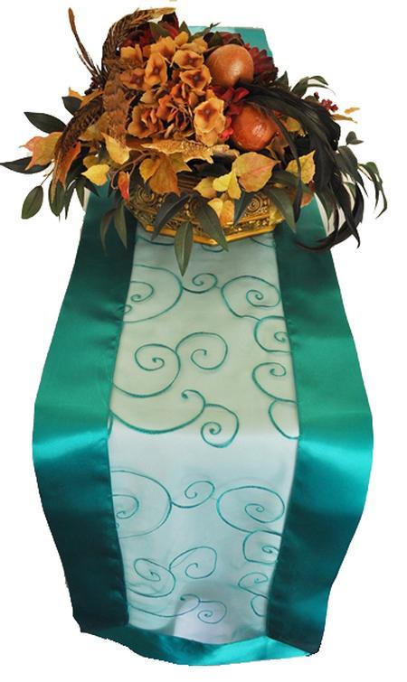 Jade Embroidered Organza Runner 12″ x 108″