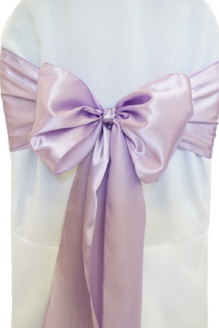 Lavender Satin Chair Sash
