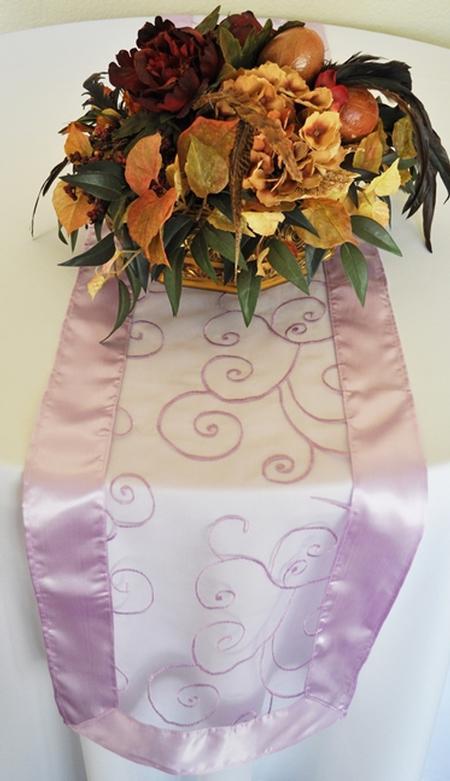 Lavender Embroidered Organza Runner 12″ x 108″