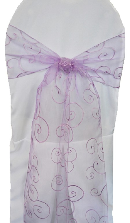 Lavender Embroidered Organza Chair Sash