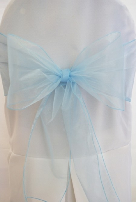 Light Blue Organza Chair Sash