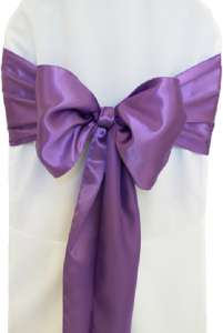 Lilac Satin Chair Sash