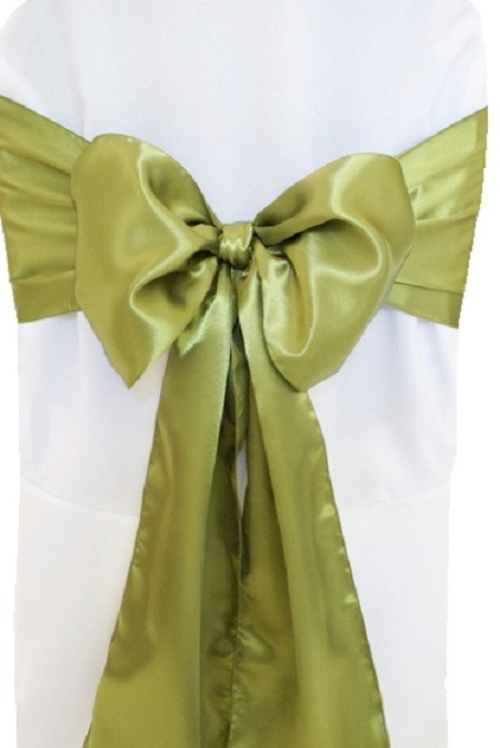 Moss Satin Chair Sash