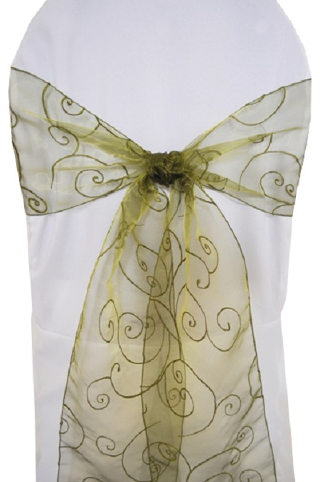Moss Embroidered Organza Chair Sash