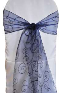 Navy Blue Embroidered Organza Chair Sash