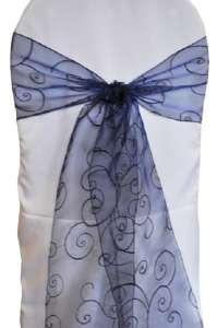 Navy Blue Embroidered Organza Chair Sash