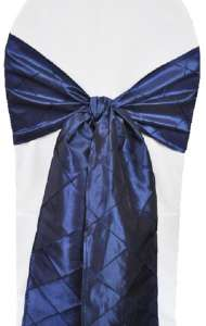 Navy Blue Pintuck Chair Sash