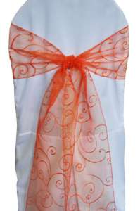 Orange Embroidered Organza Chair Sash