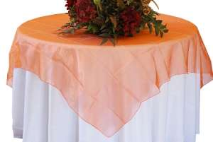 Orange 72″ x 72″ Organza Overlay