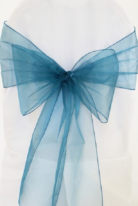 Peacock Organza Chair Sash