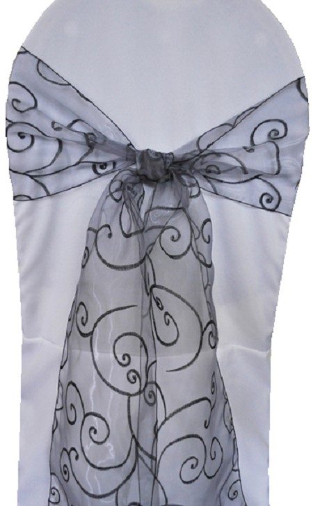Pewter Embroidered Organza Chair Sash