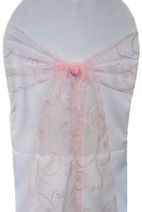 Pink Embroidered Organza Chair Sash