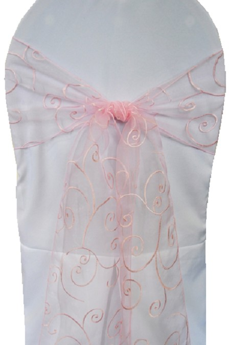 Pink Embroidered Organza Chair Sash