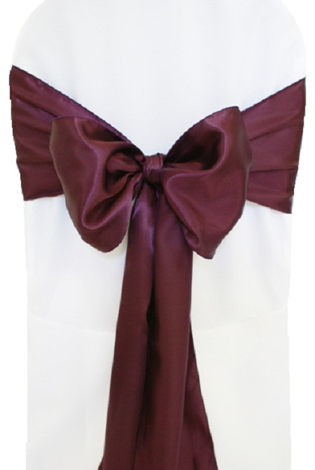 Plum Satin Chair Sash