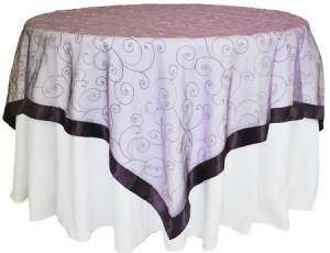 Eggplant 85″ x 85″ Embroidered Organza Overlay