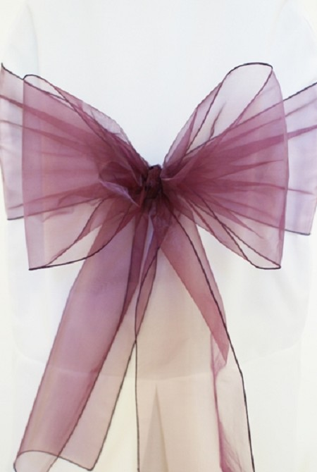 Plum Organza Chair Sash