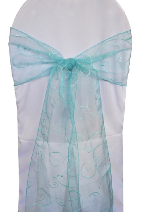 Pool Blue Embroidered Organza Chair Sash