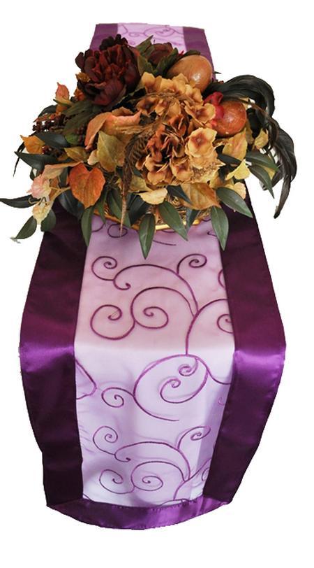 Purple Embroidered Organza Runner 12″ x 108″