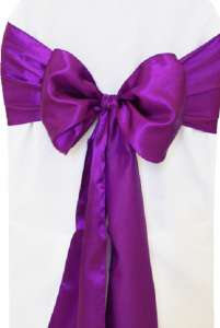 Purple Satin Chair Sash