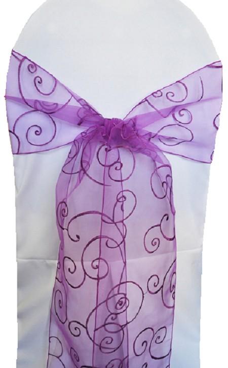Purple Embroidered Organza Chair Sash