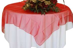 Red 72″ x 72″ Organza Overlay