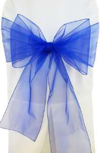 Royal Blue Organza Chair Sash