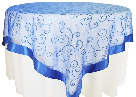 Royal Blue 85″ x 85″ Embroidered Organza Overlay