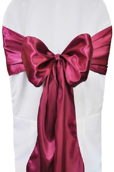 Sangria Satin Chair Sash