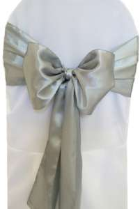 Silver Satin Chair Sash
