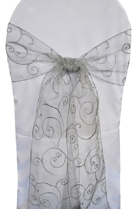 Silver Embroidered Organza Chair Sash