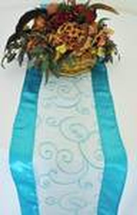 Turquoise Embroidered Organza Runner 12″ x 108″